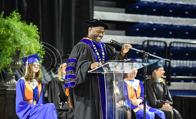University of Texas Tyler President Dr. Michael Tidwell addresses the crown during the UT Tyler University Academy graduation on Saturday, June 1. The 2019 graduating class will be the first alumni of the Academy. (Jessica T. Payne/Tyler Morning Telegraph)