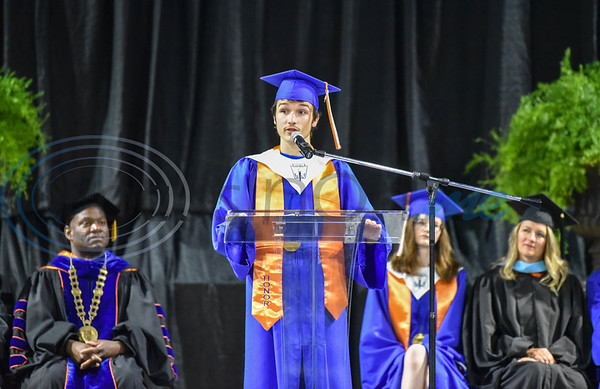 UT Tyler University Academy student Joseph Peery, Valedictorian of the Longview campus, speaks during the inaugural graduation for the Academy on Saturday, June 1. The Academy also includes a campus in Palestine and Tyler. (Jessica T. Payne/Tyler Morning Telegraph)