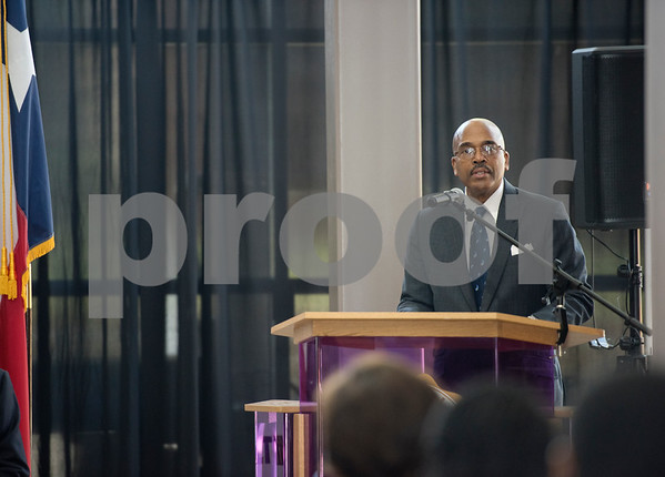 Dr. Dwight J. Fennell, President of Texas College, speaks after signing an articulation agreement between Texas College and Tyler Junior College at the McKinney Hall Connector on Texas College's campus on Friday June 15, 2018.   (Sarah A. Miller/Tyler Morning Telegraph)