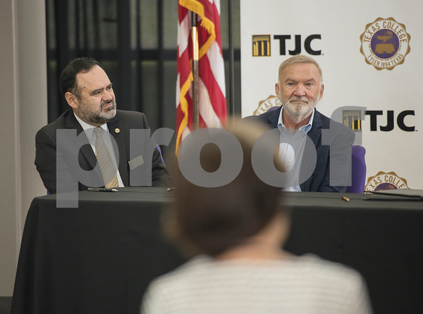 Dr. Juan E. Mejia, President, Branch Locations and TJC District Provost, and Dr. Michael Metke, Chancellor for the College District of TJC and Chief Executive Officer attend an articulation agreement singing between Tyler Junior College and Texas College at the McKinney Hall Connector on Texas College's campus on Friday June 15, 2018.   (Sarah A. Miller/Tyler Morning Telegraph)