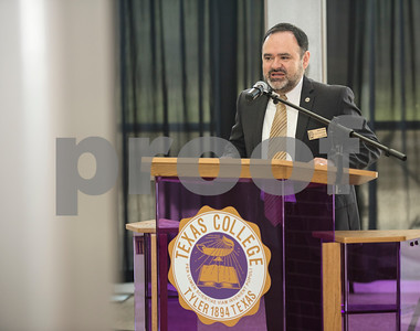 Dr. Juan E. Mejia, President, Branch Locations and TJC District Provost speaks during an articulation agreement between Tyler Junior College and Texas College at the McKinney Hall Connector on Texas College's campus on Friday June 15, 2018.   (Sarah A. Miller/Tyler Morning Telegraph)