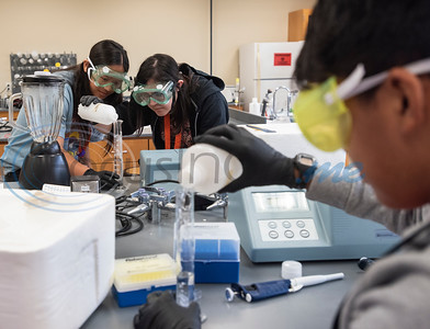 Ridgeport High School student Molina Blanchard, 17, and UT Tyler University Academy student Nicole Malmstrom, 17, watch closely as they measure a buffer solution during Pre-Med Academy Camp at the University of Texas at Tyler on Wednesday June 19, 2019.  (Sarah A. Miller/Tyler Morning Telegraph)