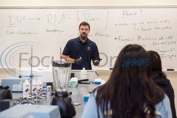 Assistant Professor of Biochemistry Dr. Dustin Patterson lectures about proteins during Pre-Med Academy Camp at the University of Texas at Tyler on Wednesday June 19, 2019.  (Sarah A. Miller/Tyler Morning Telegraph)