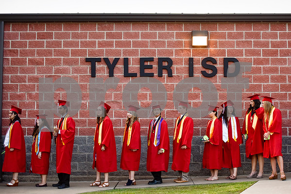 during Robert E. Lee High School's graduation ceremony at Trinity Mother Frances Rose Stadium in Tyler, Texas, on Friday, June 2, 2017. Thousands of friends and family members came to see the hundreds of seniors walk the stage for graduation. (Chelsea Purgahn/Tyler Morning Telegraph)