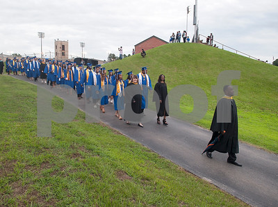 John Tyler High School senior class principal Channing  Curry leads graduates into Trinity Mother Frances Rose Stadium for their commencement ceremony Friday June 3, 2016.  (Sarah A. Miller/Tyler Morning Telegraph)