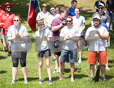 University of Texas at Tyler students cheer on competitors in the cardboard boat race Thursday June 9, 2016. UT-Tyler is hosting the 2016 American Society of Civil Engineering Concrete Canoe National Competition. Collegiate teams build canoes with concrete and are judged in four categories: technical design report, oral design presentation, canoe final product and racing.   (Sarah A. Miller/Tyler Morning Telegraph)