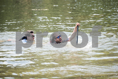 A team sinks in the cardboard boat race at The University of Texas at Tyler Thursday June 9, 2016. UT-Tyler is hosting the 2016 American Society of Civil Engineering Concrete Canoe National Competition. Collegiate teams build canoes with concrete and are judged in four categories: technical design report, oral design presentation, canoe final product and racing.   (Sarah A. Miller/Tyler Morning Telegraph)