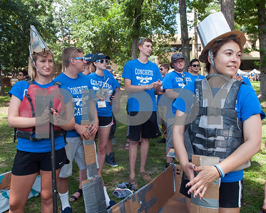 Students from the University at Buffalo get ready to compete in a cardboard canoe race at The University of Texas at Tyler Thursday June 9, 2016. UT-Tyler is hosting the 2016 American Society of Civil Engineering Concrete Canoe National Competition. Collegiate teams build canoes with concrete and are judged in four categories: technical design report, oral design presentation, canoe final product and racing.   (Sarah A. Miller/Tyler Morning Telegraph)