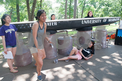 Students from the University of Washington pose with their concrete canoe at The University of Texas at Tyler Thursday June 9, 2016. UT-Tyler is hosting the 2016 American Society of Civil Engineering Concrete Canoe National Competition. Collegiate teams build canoes with concrete and are judged in four categories: technical design report, oral design presentation, canoe final product and racing.   (Sarah A. Miller/Tyler Morning Telegraph)