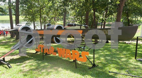 A Star Wars themed canoe made by students from The Citadel sits on display with other canoes at The University of Texas at Tyler Thursday June 9, 2016. UT-Tyler is hosting the 2016 American Society of Civil Engineering Concrete Canoe National Competition. Collegiate teams build canoes with concrete and are judged in four categories: technical design report, oral design presentation, canoe final product and racing.   (Sarah A. Miller/Tyler Morning Telegraph)