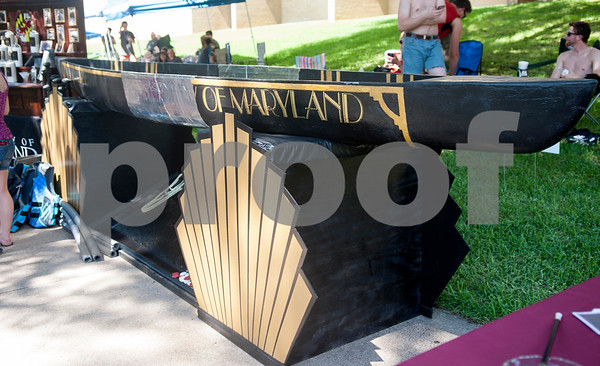 A canoe made by students from The University of Maryland sits on display with other canoes at The University of Texas at Tyler Thursday June 9, 2016. UT-Tyler is hosting the 2016 American Society of Civil Engineering Concrete Canoe National Competition. Collegiate teams build canoes with concrete and are judged in four categories: technical design report, oral design presentation, canoe final product and racing.   (Sarah A. Miller/Tyler Morning Telegraph)