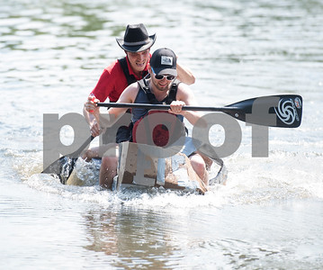 Ecole de Technologie Superieure students Eric Boldireff and Alexandre Taillefer race a cardboard boat at The University of Texas at Tyler Thursday June 9, 2016. UT-Tyler is hosting the 2016 American Society of Civil Engineering Concrete Canoe National Competition. Collegiate teams build canoes with concrete and are judged in four categories: technical design report, oral design presentation, canoe final product and racing.   (Sarah A. Miller/Tyler Morning Telegraph)