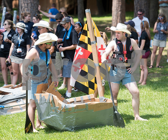 University of Maryland students John McAninley and Rob Martin prepare to race their cardboard boat at The University of Texas at Tyler Thursday June 9, 2016. UT-Tyler is hosting the 2016 American Society of Civil Engineering Concrete Canoe National Competition. Collegiate teams build canoes with concrete and are judged in four categories: technical design report, oral design presentation, canoe final product and racing.   (Sarah A. Miller/Tyler Morning Telegraph)