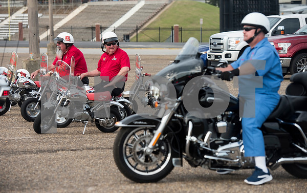 Mini motorcycles from the El Mina Shrine in Galveston are parked next to the Hella motor patrol from Dallas during the Texas Shriner Association convention held in Tyler at Harvey Convention Center on Friday June 8, 2018.  (Sarah A. Miller/Tyler Morning Telegraph)
