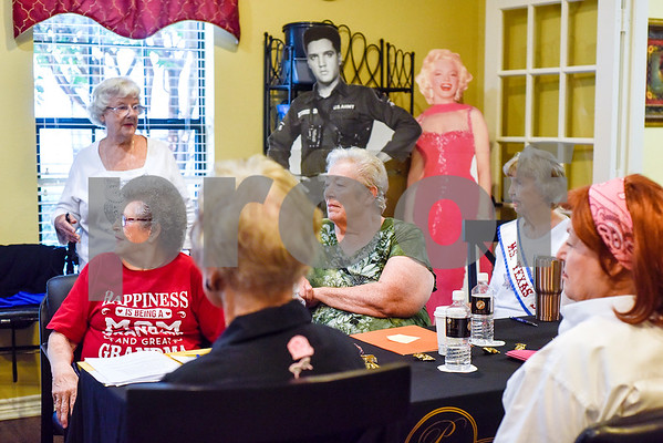 Women listen during interview practice for the Ms. Texas Senior Classic Pageant at Prestige Estates in Tyler, Texas, on Friday, July 21, 2017. The pageant will take place in September. (Chelsea Purgahn/Tyler Morning Telegraph)