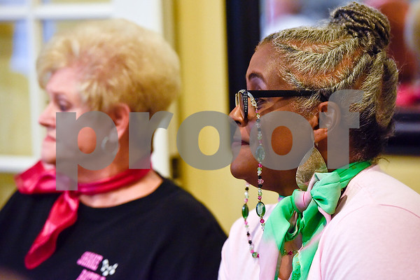 Carol Swanson and Charlotte Adams-Graves listen during interview practice for the Ms. Texas Senior Classic Pageant at Prestige Estates in Tyler, Texas, on Friday, July 21, 2017. The pageant will take place in September. (Chelsea Purgahn/Tyler Morning Telegraph)