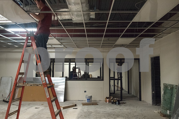 Construction crews work in the video production area at the Jacksonville Independent School District Career & Technical Education department building on Tuesday July 24, 2018.  (Sarah A. Miller/Tyler Morning Telegraph)