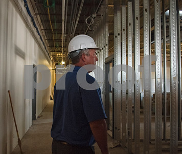 Jacksonville Independent School District superintendent Dr. Chad Kelly gives a tour of the progress of the Career & Technical Education department building on Tuesday July 24, 2018.  (Sarah A. Miller/Tyler Morning Telegraph)