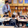 Eastside Elementary School third grade teacher Brett Yoder greets his new students on the first day of school Wednesday.