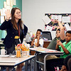 John P. Cleary | The Herald Bulletin<br /> First-year teacher Jenny Miller asks questions of her fifth-grade students as they get acquainted on the first day of classes at the new Anderson Intermediate School.