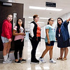 John P. Cleary | The Herald Bulletin<br /> Anderson Intermediate School fifth-grade teacher Elisabeth Reed points her students toward the restrooms and water fountain on the first day of classes at Anderson Intermediate School.
