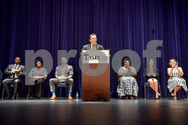 Superintendent Marty Crawford speaks during Tyler ISD's summer graduation for John Tyler High School, Robert E. Lee High School and Rise Academy at Caldwell Auditorium in Tyler, Texas, on Friday, Aug. 10, 2018. (Chelsea Purgahn/Tyler Morning Telegraph)