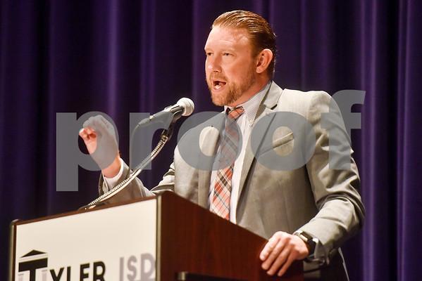 Robert E. Lee principal Dan Crawford speaks during Tyler ISD's summer graduation for John Tyler High School, Robert E. Lee High School and Rise Academy at Caldwell Auditorium in Tyler, Texas, on Friday, Aug. 10, 2018. (Chelsea Purgahn/Tyler Morning Telegraph)
