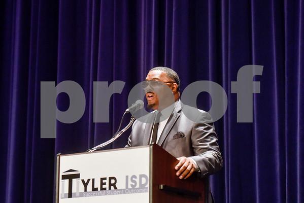 Rise Academy principal Dexter Floyd speaks during Tyler ISD's summer graduation for John Tyler High School, Robert E. Lee High School and Rise Academy at Caldwell Auditorium in Tyler, Texas, on Friday, Aug. 10, 2018. (Chelsea Purgahn/Tyler Morning Telegraph)