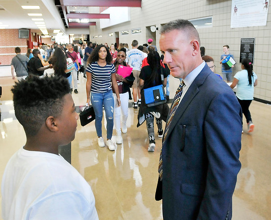 John P. Cleary | The Herald Bulletin<br /> First day of school at Highland Middle School.