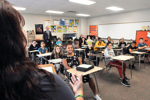 John P. Cleary | The Herald Bulletin<br /> Highland Middle School sixth-grade teacher Nancy Staley goes over her classroom rules Wednesday on the first day of classes for Anderson Community Schools. Staley is a math and science teacher.