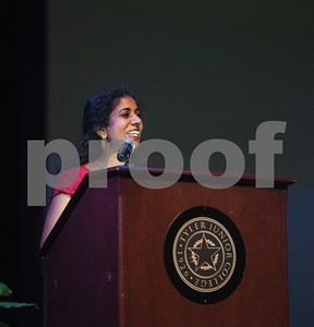 "Tyler Junior College student Vandar ""Kui"" Kuppuswamy tells her story of coming to TJC after growing up in India during the annual fall convocation Tuesday, Aug. 15, 2017 at Wise Auditorium.  (Sarah A. Miller/Tyler Morning Telegraph)"
