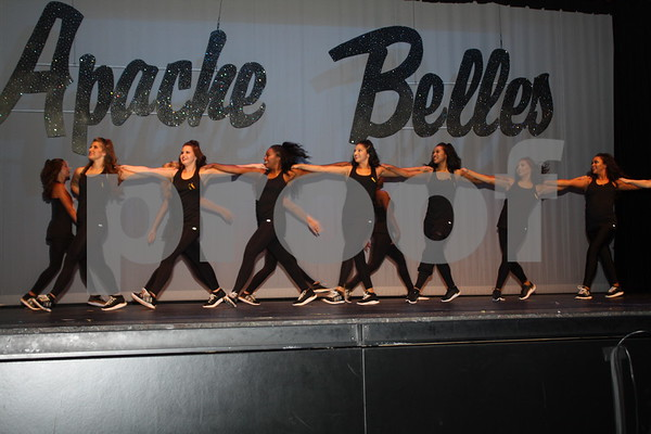 Apache Belles 70th Line performs for parents and family members during Apache Belles Formal Announcments Friday.