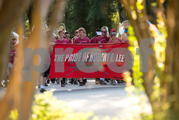 The Robert E. Lee Red Raider Band begins to march during their March-A-Thon in Tyler, Texas, on Saturday, Aug. 19, 2017. The seventh annual March-A-Thon is the band's largest fundraiser and takes the entire band through neighborhoods to play street concerts for donations. (Chelsea Purgahn/Tyler Morning Telegraph)