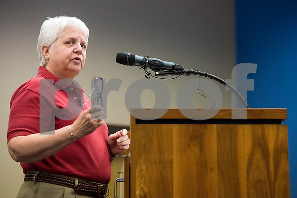 A woman speaks during a Tyler ISD board meeting in Tyler, Texas, on Monday, Aug. 21, 2017. Residents came to discuss changing the name of Robert E. Lee High School, with the discussion being fueled by protests across the nation regarding Confederate monuments. (Chelsea Purgahn/Tyler Morning Telegraph)