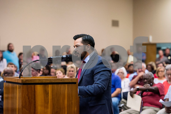 Nick Pesina speaks during a Tyler ISD board meeting in Tyler, Texas, on Monday, Aug. 21, 2017. Residents came to discuss changing the name of Robert E. Lee High School, with the discussion being fueled by protests across the nation regarding Confederate monuments. (Chelsea Purgahn/Tyler Morning Telegraph)