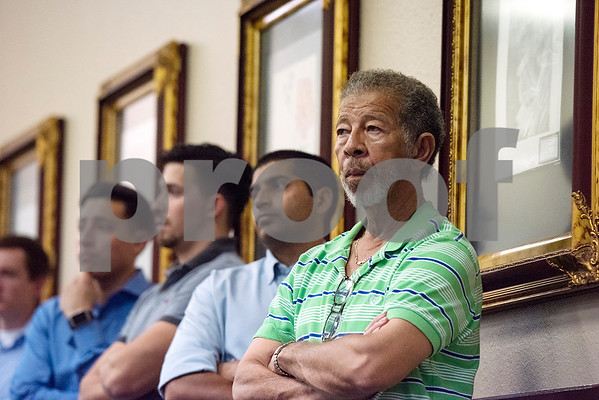 Carl Jones listens during a Tyler ISD board meeting in Tyler, Texas, on Monday, Aug. 21, 2017. Residents came to discuss changing the name of Robert E. Lee High School, with the discussion being fueled by protests across the nation regarding Confederate monuments. (Chelsea Purgahn/Tyler Morning Telegraph)