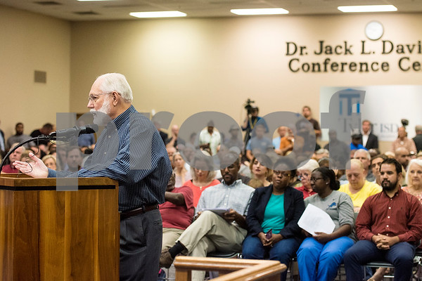 Ron Gleason speaks during a Tyler ISD board meeting in Tyler, Texas, on Monday, Aug. 21, 2017. Residents came to discuss changing the name of Robert E. Lee High School, with the discussion being fueled by protests across the nation regarding Confederate monuments. (Chelsea Purgahn/Tyler Morning Telegraph)
