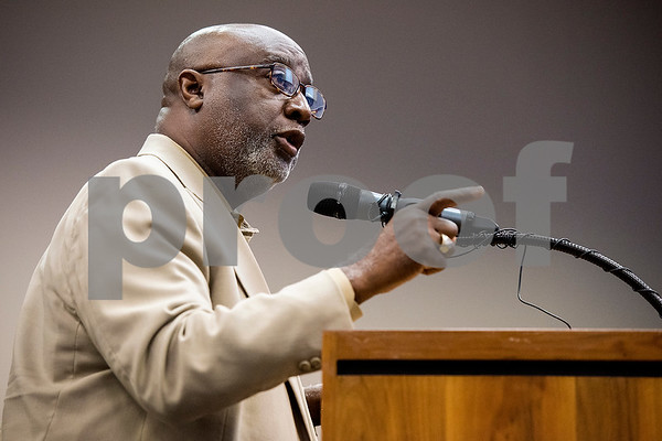 Rev. M.K. Mast speaks and was the last Tyler resident to speak after nearly an hour and a half of public comment during a Tyler ISD board meeting in Tyler, Texas, on Monday, Aug. 21, 2017. Residents came to discuss changing the name of Robert E. Lee High School, with the discussion being fueled by protests across the nation regarding Confederate monuments. (Chelsea Purgahn/Tyler Morning Telegraph)