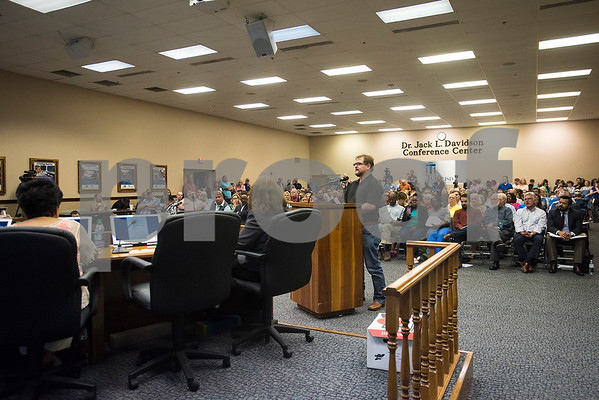 The crowd at the Tyler ISD board meeting in Tyler, Texas, on Monday, Aug. 21, 2017. Residents came to discuss changing the name of Robert E. Lee High School, with the discussion being fueled by protests across the nation regarding Confederate monuments. (Chelsea Purgahn/Tyler Morning Telegraph)