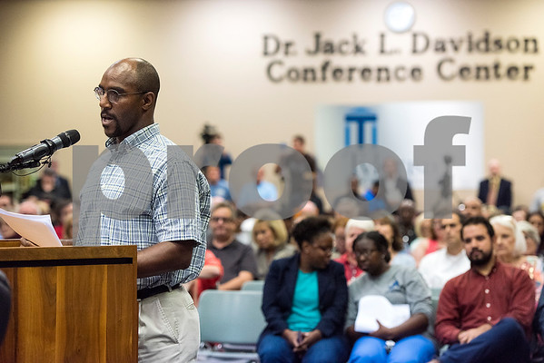 A man speaks during a Tyler ISD board meeting in Tyler, Texas, on Monday, Aug. 21, 2017. Residents came to discuss changing the name of Robert E. Lee High School, with the discussion being fueled by protests across the nation regarding Confederate monuments. (Chelsea Purgahn/Tyler Morning Telegraph)