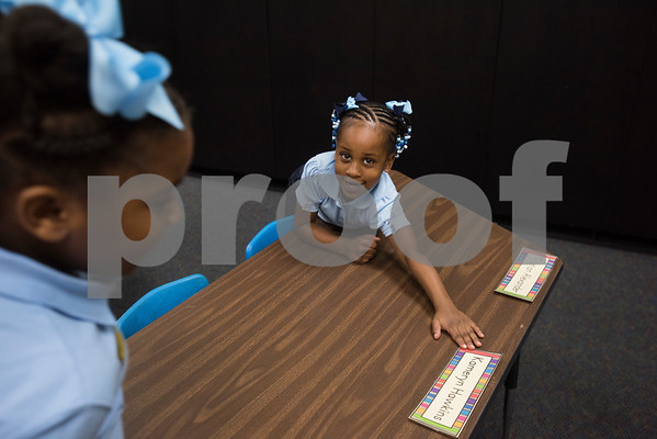 Ceremony Hawkins, 4, finds her desk at the new Promise Academy building on first day of school on Thursday Aug. 23, 2018. The school has a new location inside the Boys and Girls Club building, 504 W. 32nd Street.  (Sarah A. Miller/Tyler Morning Telegraph)