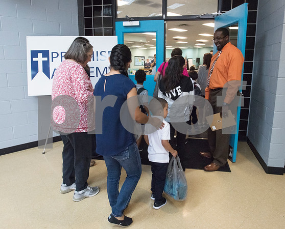 Students arrive for the first day of classes at Promise Academy, a private Christian school in Tyler on Thursday Aug. 23, 2018. The school has a new location inside the Boys and Girls Club building, 504 W. 32nd Street.  (Sarah A. Miller/Tyler Morning Telegraph)