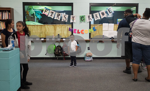 Chris Rios, 5, familiarizes himself with the new Promise Academy building on first day of school on Thursday Aug. 23, 2018. The school has a new location inside the Boys and Girls Club building, 504 W. 32nd Street.  (Sarah A. Miller/Tyler Morning Telegraph)