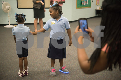 Students arrive for the first day of school at Promise Academy, a private Christian school in Tyler on Thursday Aug. 23, 2018. The school has a new location inside the Boys and Girls Club building, 504 W. 32nd Street.  (Sarah A. Miller/Tyler Morning Telegraph)