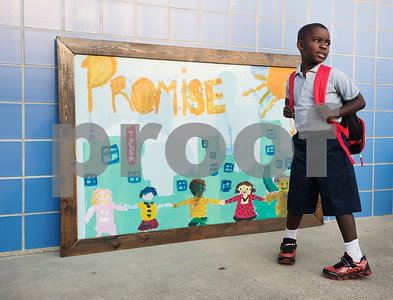 Jathan Jackson, 6, arrives for the first day of school at Promise Academy in Tyler on Thursday Aug. 23, 2018. The school has a new location inside the Boys and Girls Club building, 504 W. 32nd Street.  (Sarah A. Miller/Tyler Morning Telegraph)