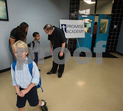 Students arrive for the first day of school at Promise Academy, a private Christian school in Tyler for the first day of school on Thursday Aug. 23, 2018. The school has a new location inside the Boys and Girls Club building, 504 W. 32nd Street.  (Sarah A. Miller/Tyler Morning Telegraph)