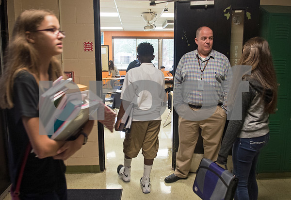 New teacher Jody Coward welcomes students to his eighth grade math class on the first day of school at Hubbard Middle School in Tyler Monday Aug. 28, 2017.  (Sarah A. Miller/Tyler Morning Telegraph)