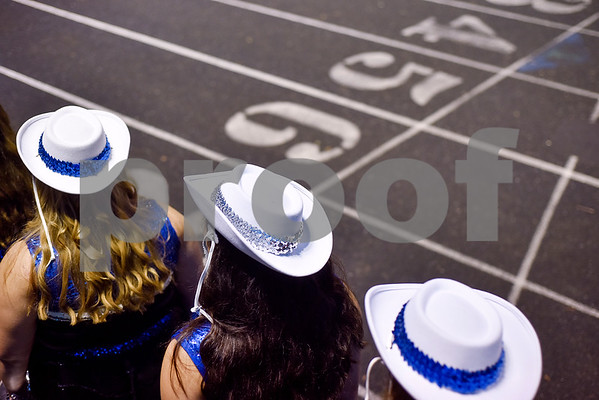 Grace Community School's drill team waits to perform during a high school football game at McCallum Stadium at Bishop T.K. Gorman Catholic School in Tyler, Texas, on Thursday, Aug. 31, 2017. The Grace Community School Cougars beat the Waxahachie Life Mustangs 48-28. (Chelsea Purgahn/Tyler Morning Telegraph)