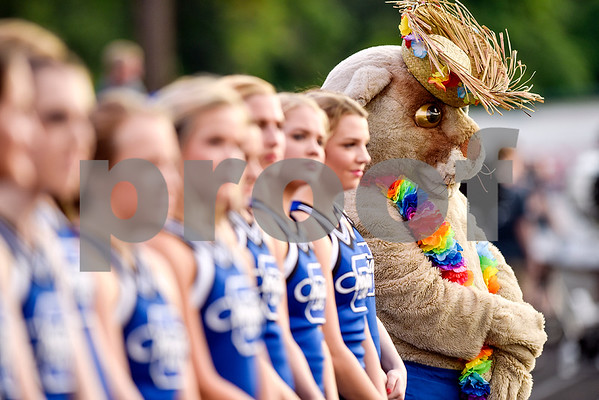The Grace Community School cougar mascot stands with cheerleaders during a high school football game at McCallum Stadium at Bishop T.K. Gorman Catholic School in Tyler, Texas, on Thursday, Aug. 31, 2017. (Chelsea Purgahn/Tyler Morning Telegraph)