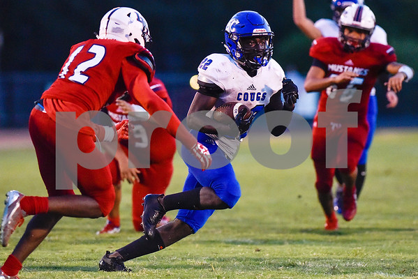 Grace Community School running back Uchenna Uduma runs the ball during a high school football game at McCallum Stadium at Bishop T.K. Gorman Catholic School in Tyler, Texas, on Thursday, Aug. 31, 2017. (Chelsea Purgahn/Tyler Morning Telegraph)